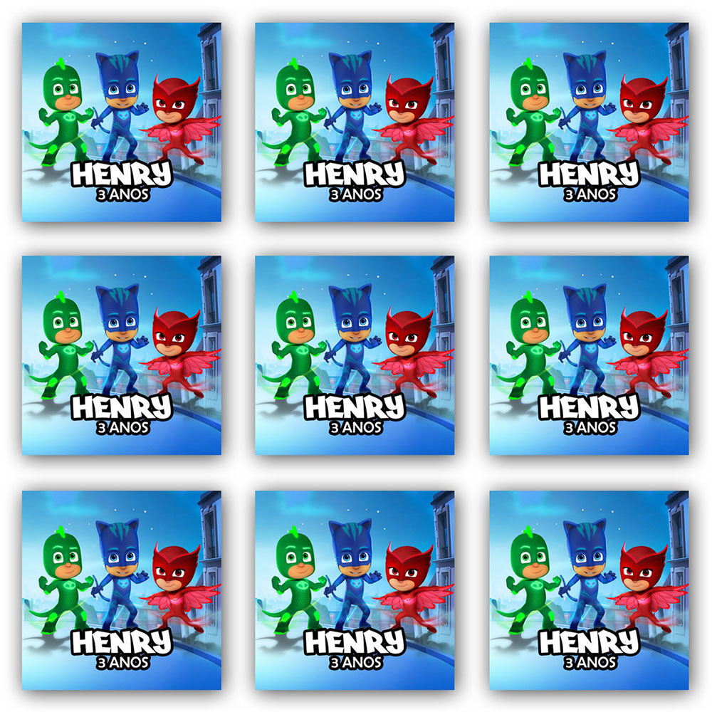 Cartela de Adesivo Personalizado Quadrado 3x3 (40 adesivos)