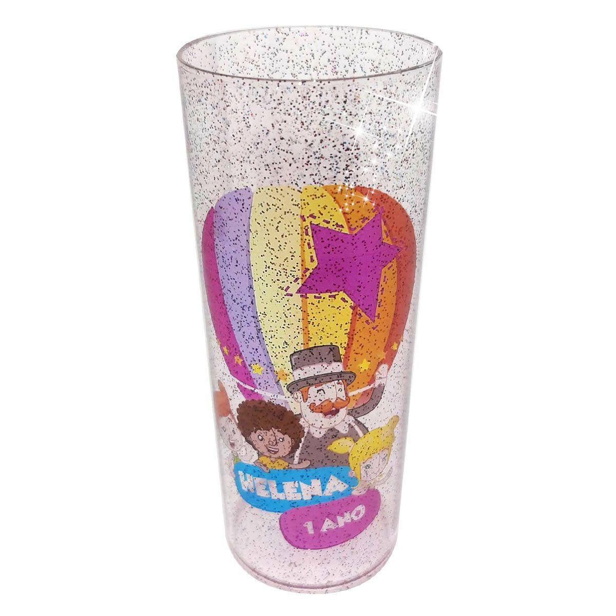10x Copo Long Drink Transparente com Glitter Personalizado - Pacote com 10 unidades