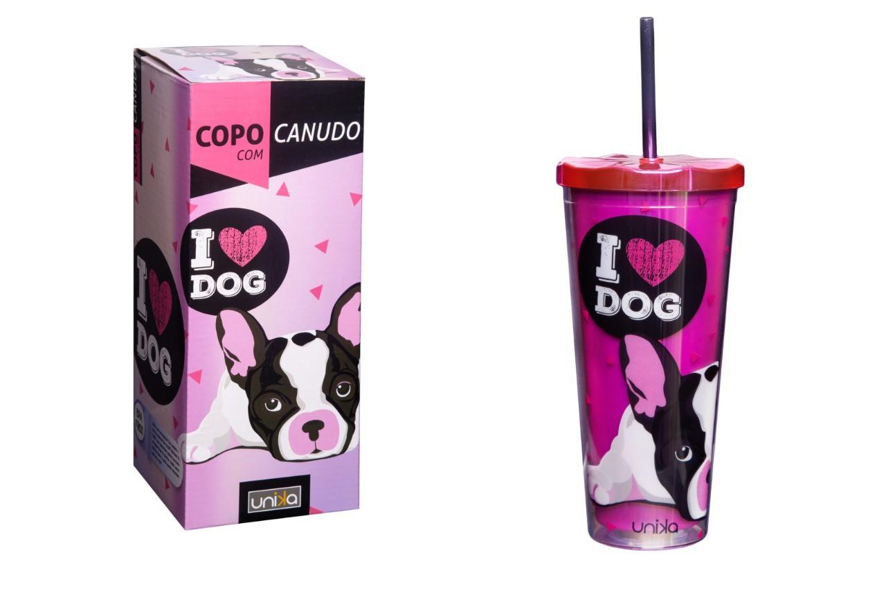 COPO C/CANUDO HOLOGRAFICO DOG 650ML