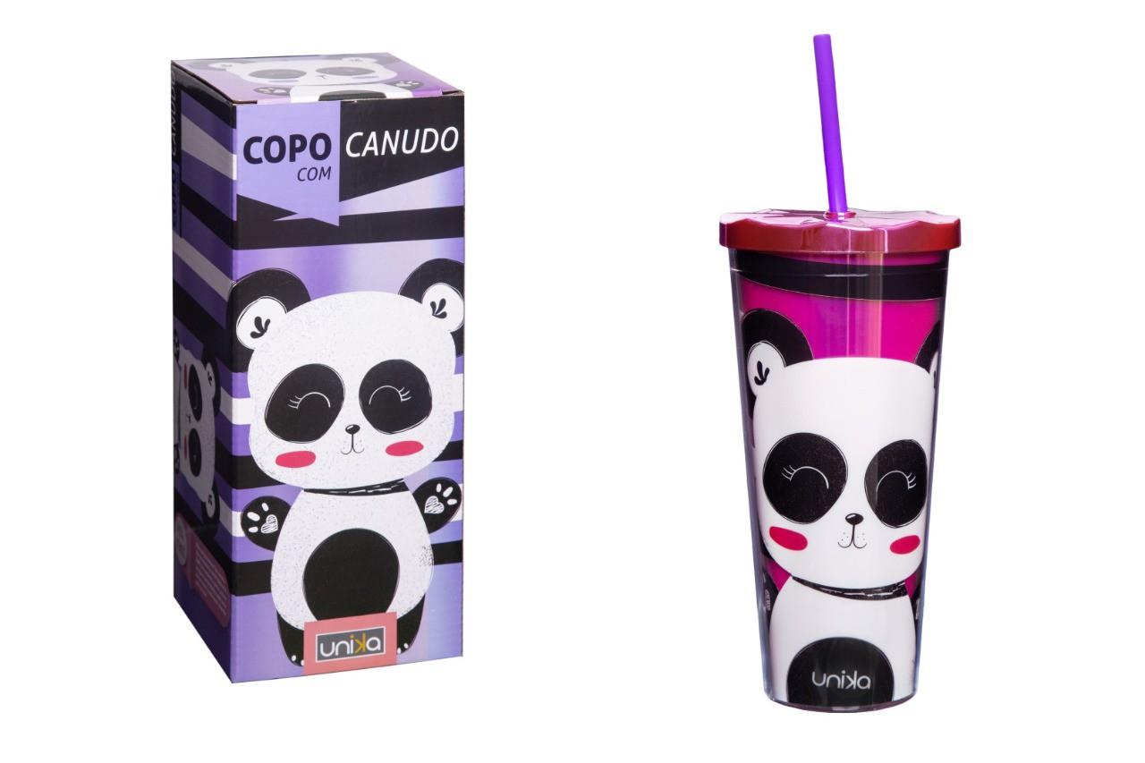 COPO C/CANUDO HOLOGRAFICO PANDA 650ML