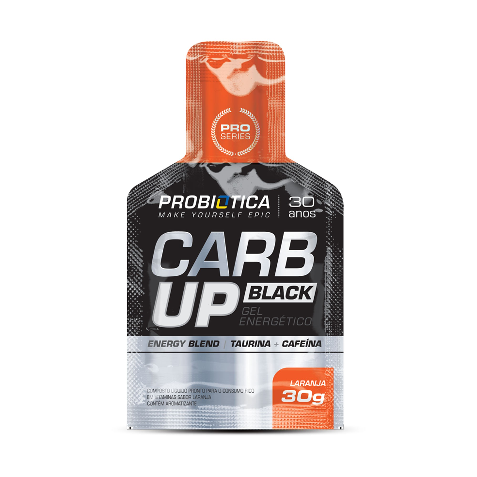 Carb up Black Gel energético Laranja Probiotica 30g