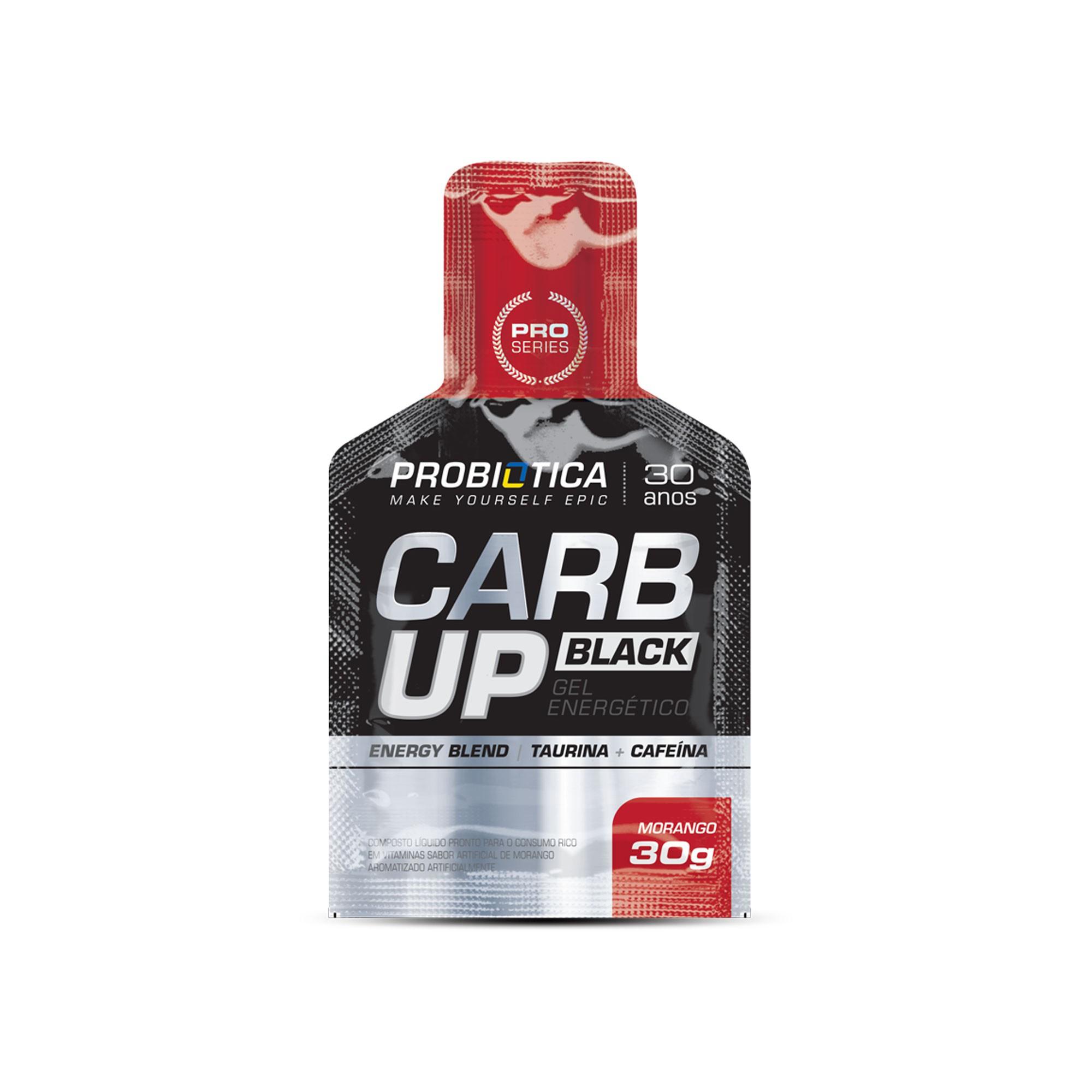 Carb up Black Gel energético Morango Probiotica 30g