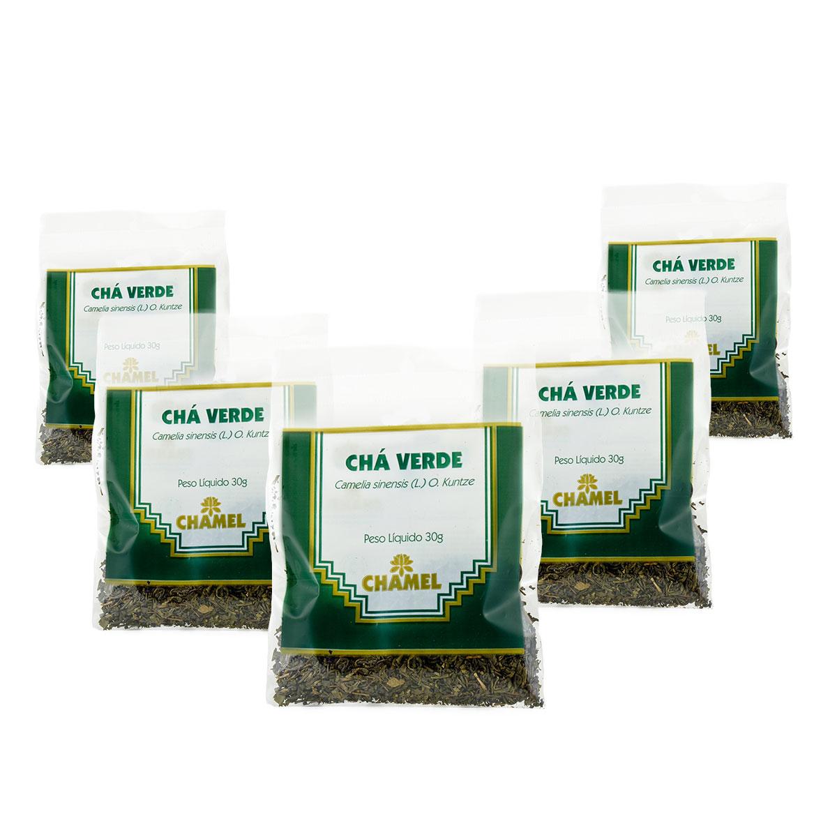 Chá Verde 30g Chamel com 5 Unidades - Chá-Folhas