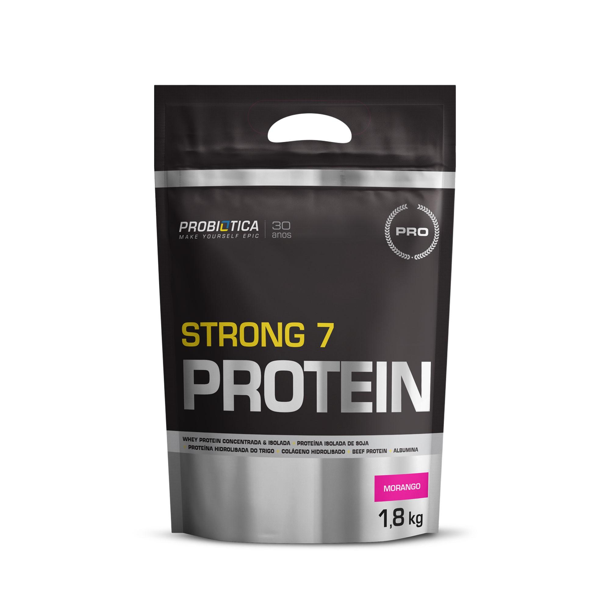Strong 7 Protein Refil Morango Probiotica  1,8kg