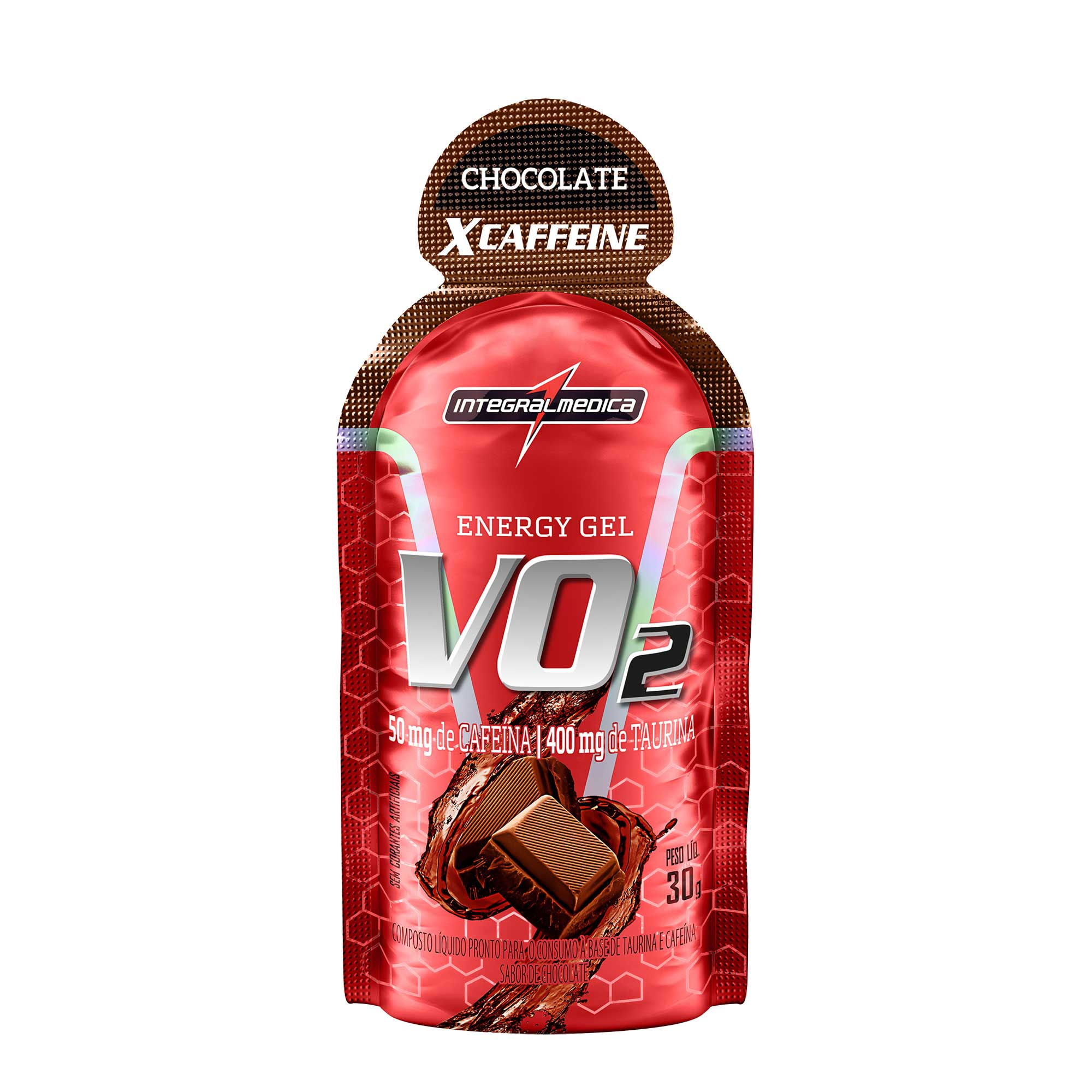 VO2 Gel Energético X-Caffeine Chocolate 30g Integralmedica