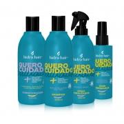 Kit manutenção para todos os tipos de cabelo: Shampoo + Condicionador + Spray Finalizador + Óleo Reparador