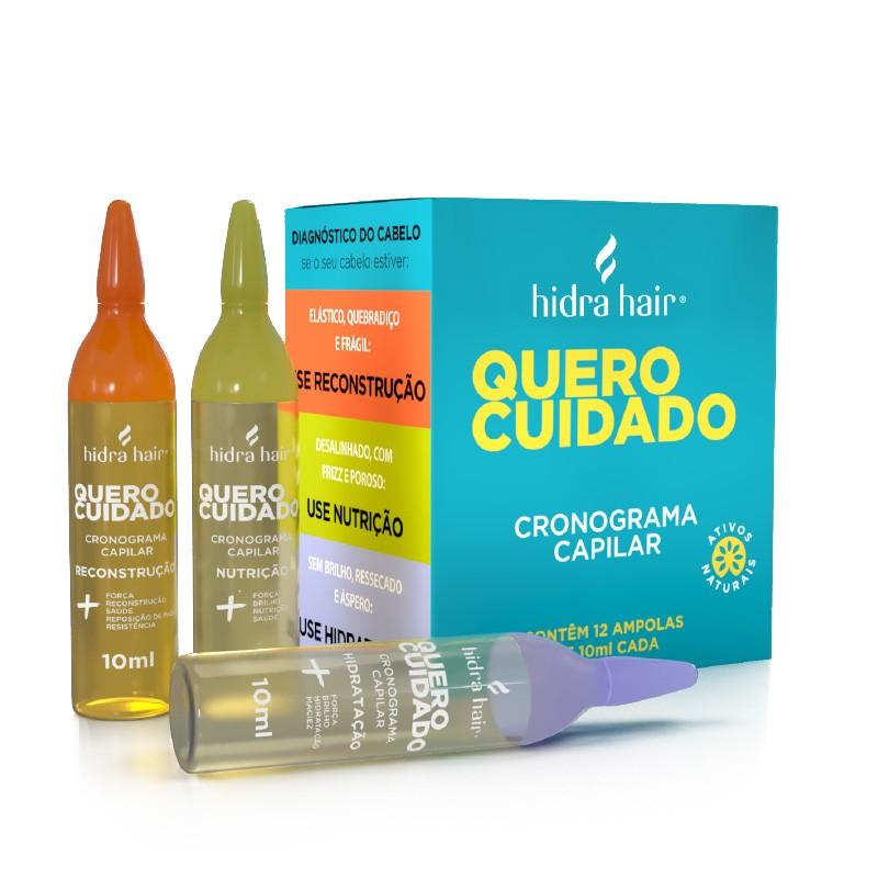 Caixa com Ampolas Cronograma Capilar Quero Cuidado Hidra Hair 120 ml