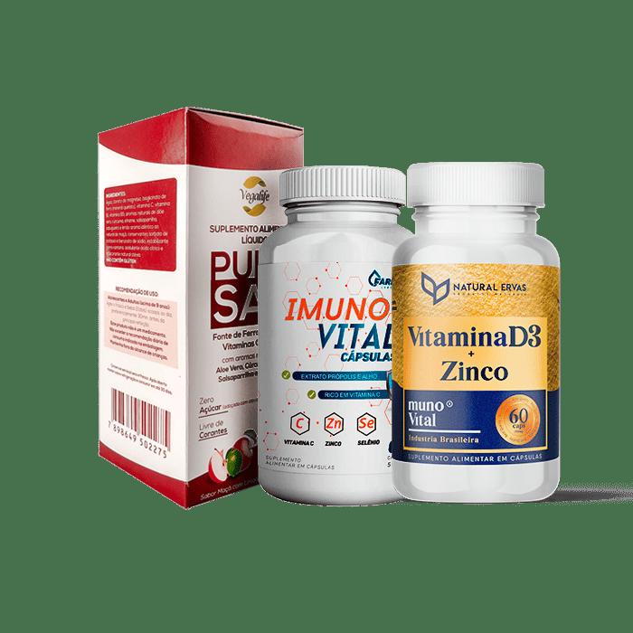 Kit Imunidade 1 Vitamina D3 + Imuno Vital + Puro San