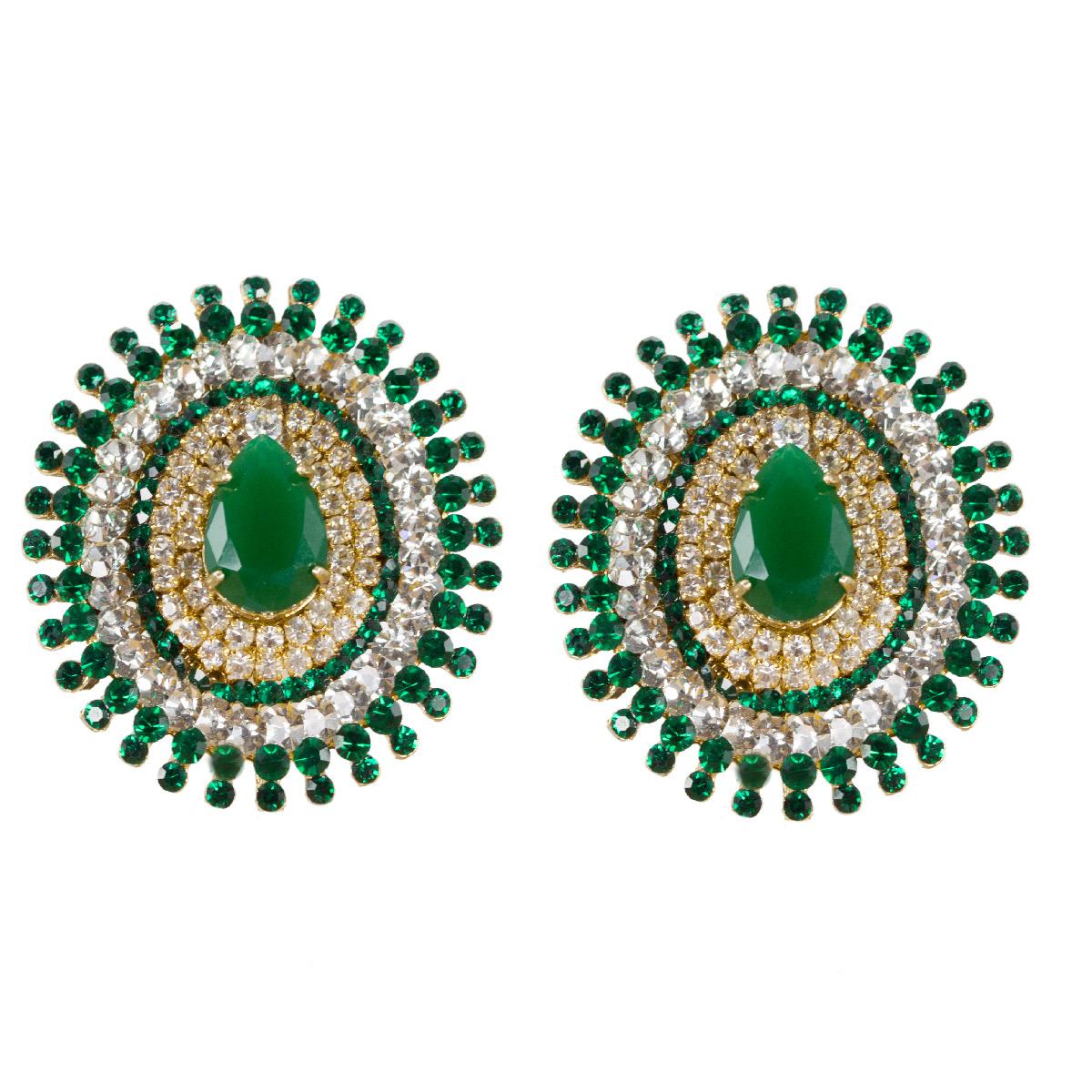 Brinco de strass verde e cristal