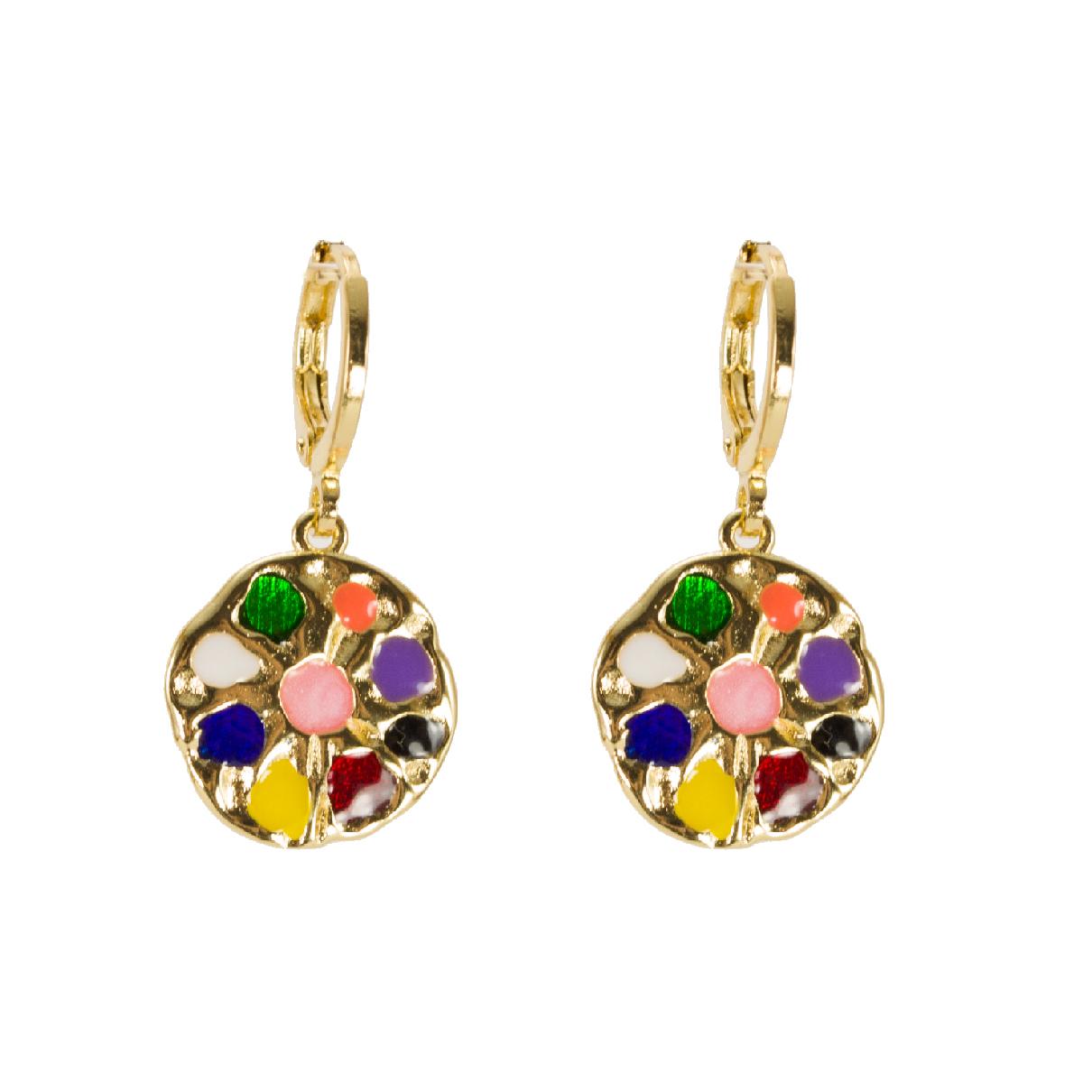 Brinco semi jóias esmaltado colorido