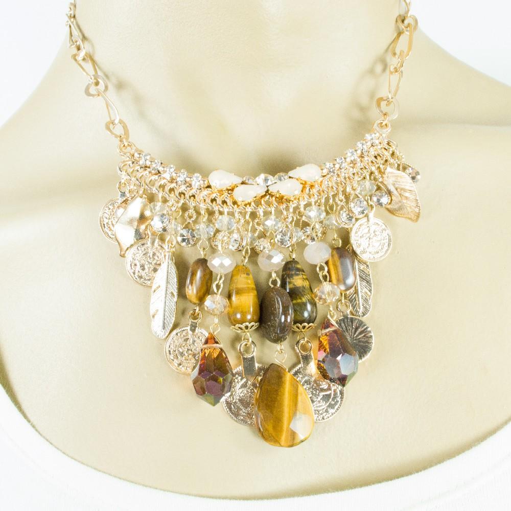 Colar com cristais e pedras naturais Iza Perobelli