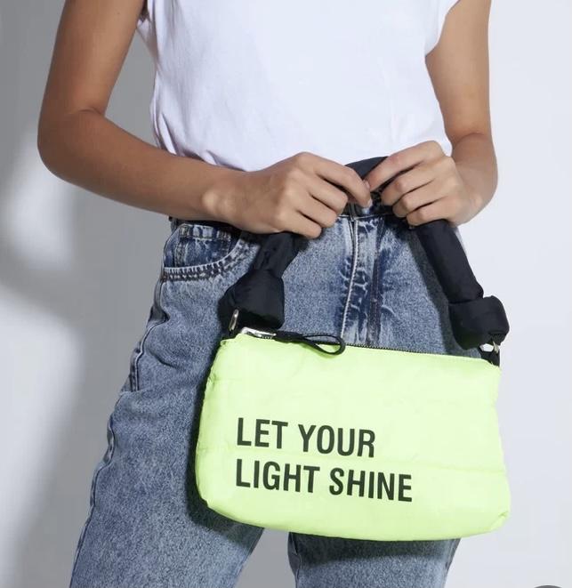 Bolsa Schutz Tiracolo Pequena Nylon 2 em 1 Preta Neon