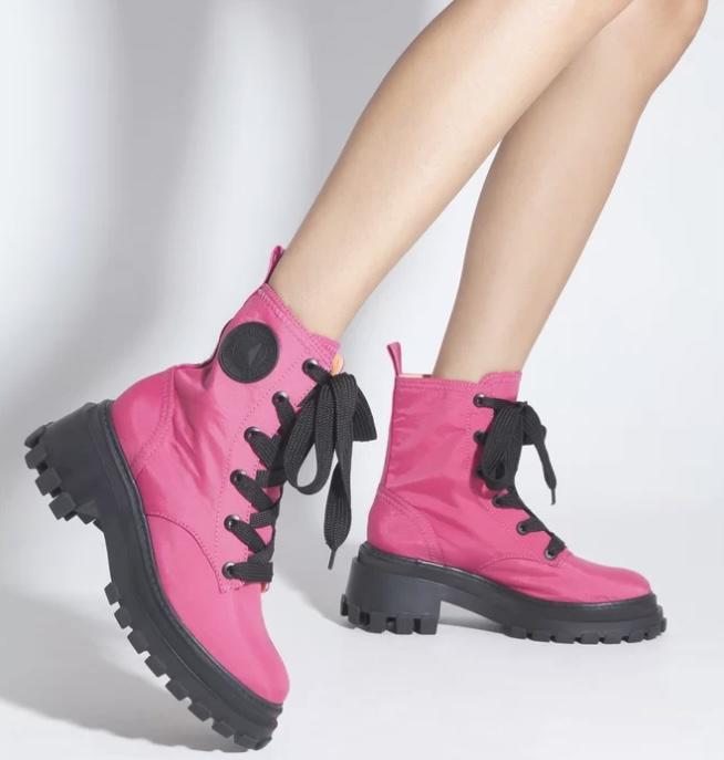 Bota Schutz Coturno Tratorado Nylon Neon Pink