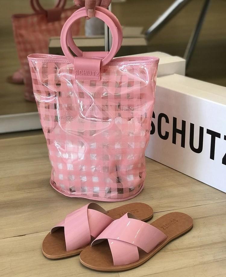 Duo Schutz Flat & Tote Cross Verniz Pink