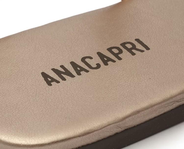 Rasteira Anacapri Metalizada Cobre Slim Tiras Torcidas