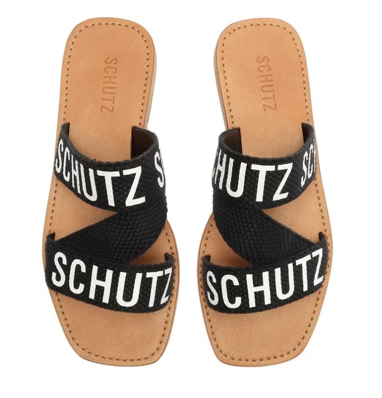 Rasteira Schutz Slide Tecido Schutz Preta