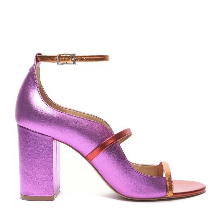Sandália Schutz Metalizado Colorido Pink Salto Bloco