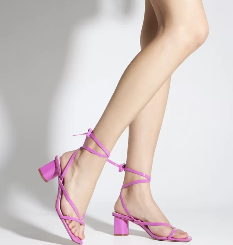 Sandália Schutz X Ginger Block Heel Lace-up Pink