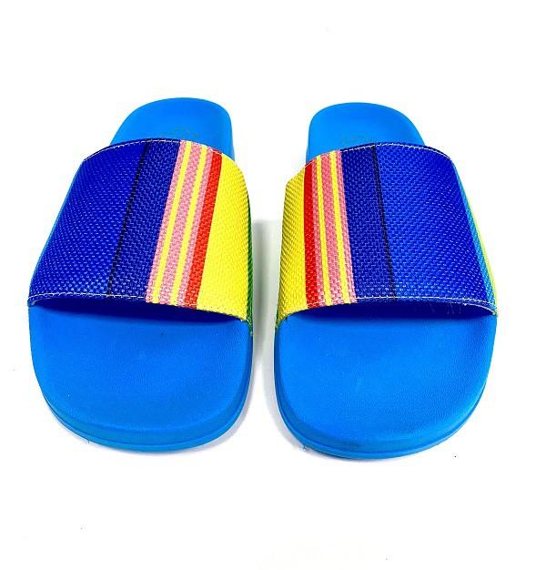 Slide Farm Praiana Azul Rafia Listras Coloridas