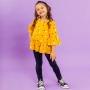 Conjunto Legging Preto e Blusa Viscose Poá Amarelo
