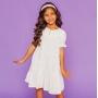 PRÉ-VENDA - Vestido Viscose Franzido Branco Coração Liso Ano Novo
