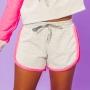 Shorts Moletinho Zig Zag Cinza e Rosa Neon