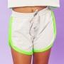 Shorts Moletinho Zig Zag Cinza e Verde Neon