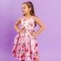 Vestido Infantil Beagle Xadrez Rosa