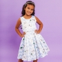 Vestido Infantil Chevron Cinza Azul