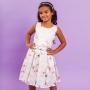Vestido Infantil Chevron Cinza Rosa