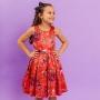 Vestido Infantil Rosas Vermelho