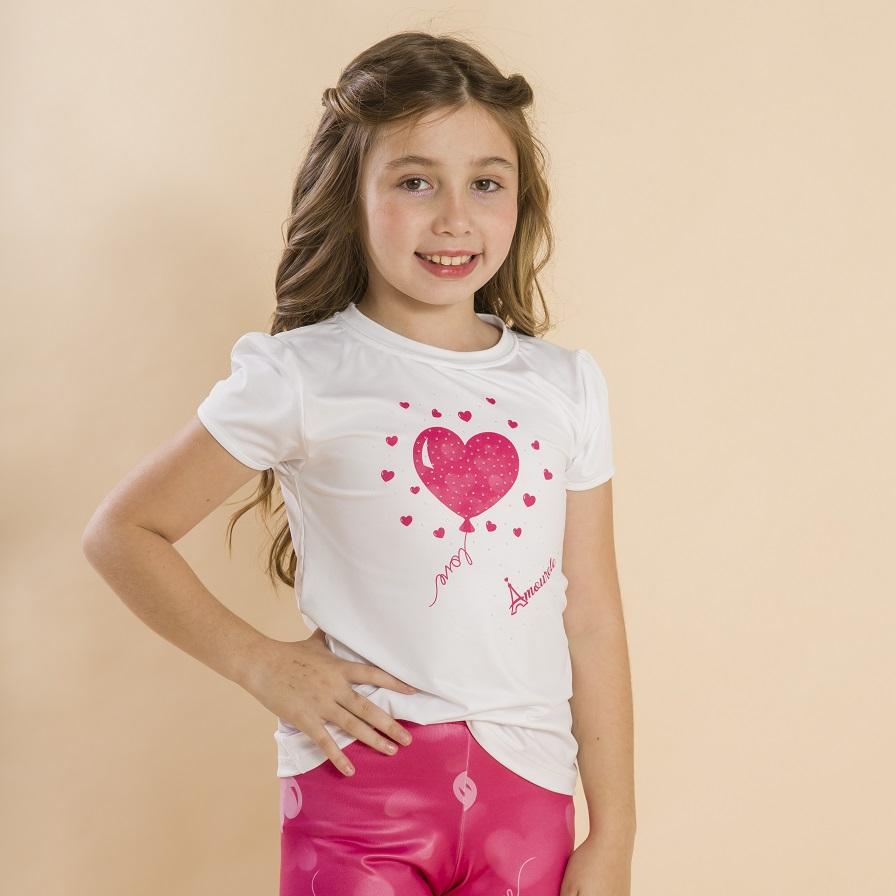 Blusa Branca Infantil Estampa Balão Rosa