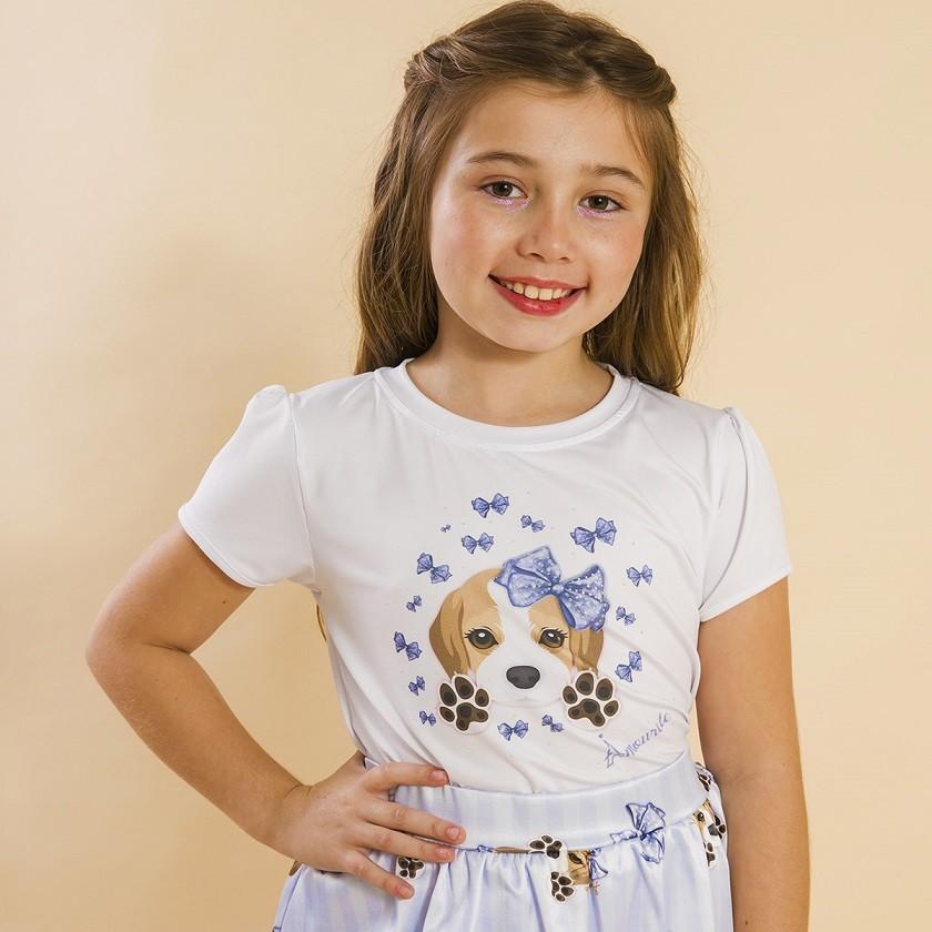 Blusa Branca Infantil Estampa Beagle Azul