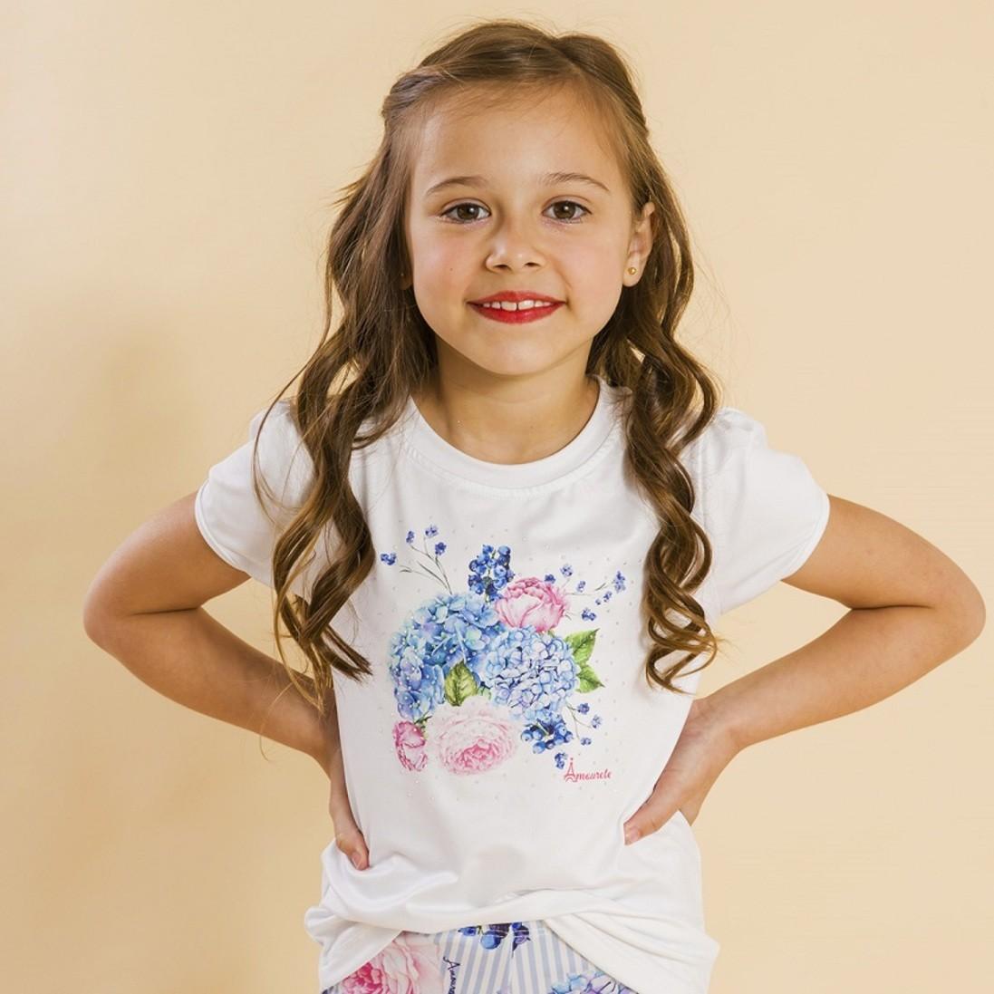 Blusa Branca Infantil Estampa Floral Azul