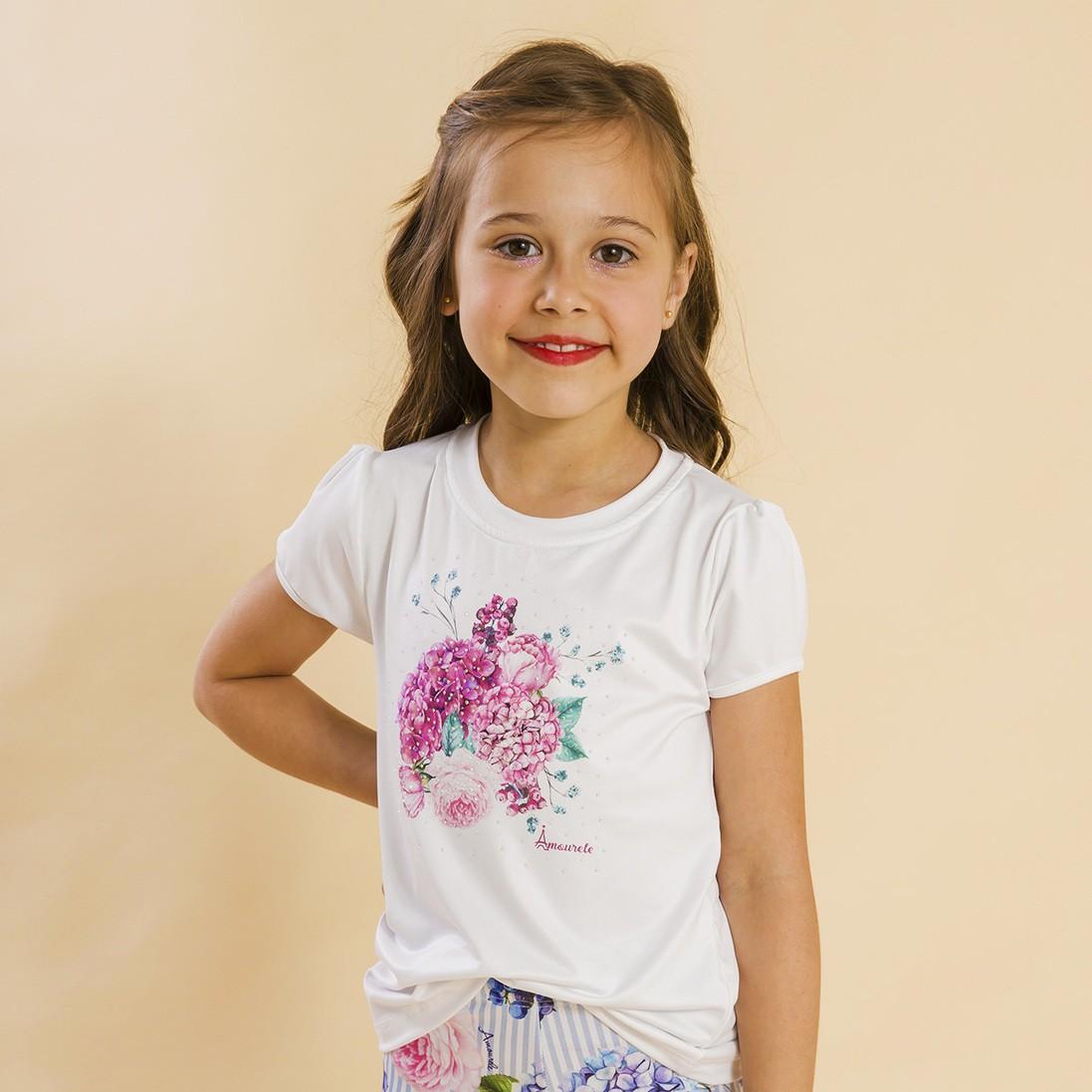Blusa Branca Infantil Estampa Floral Rosa
