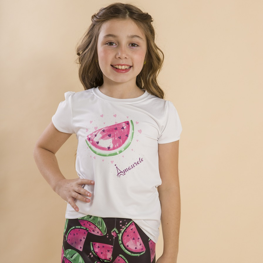 Blusa Branca Infantil Estampa Melancia Rosa