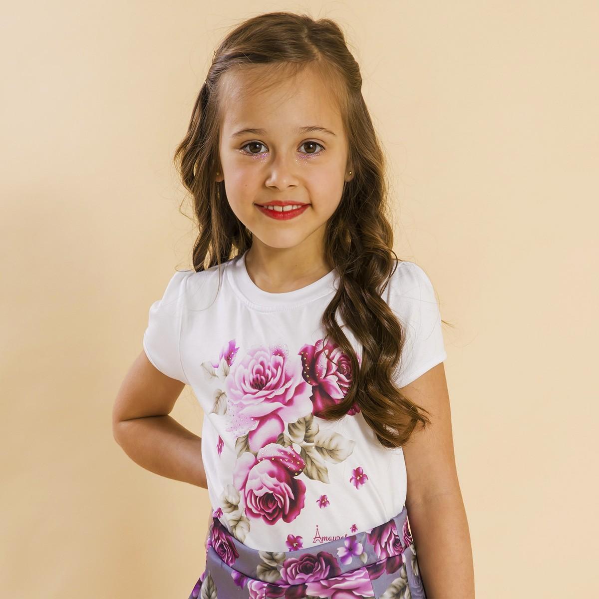 Blusa Branca Infantil Estampa Rosas Cinza