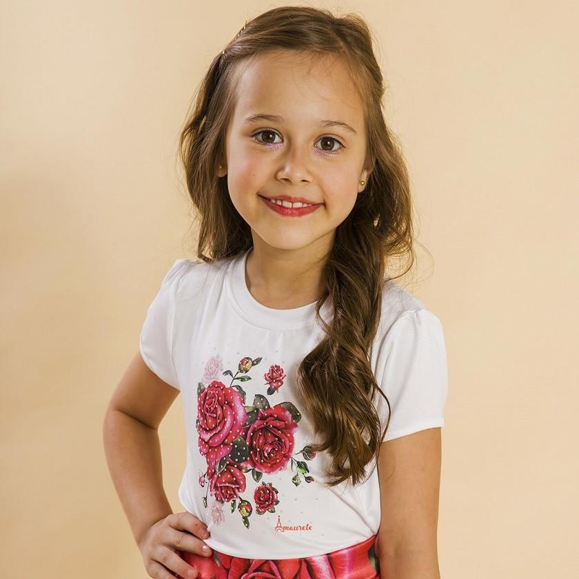Blusa Branca Infantil Estampa Rosas Vermelho