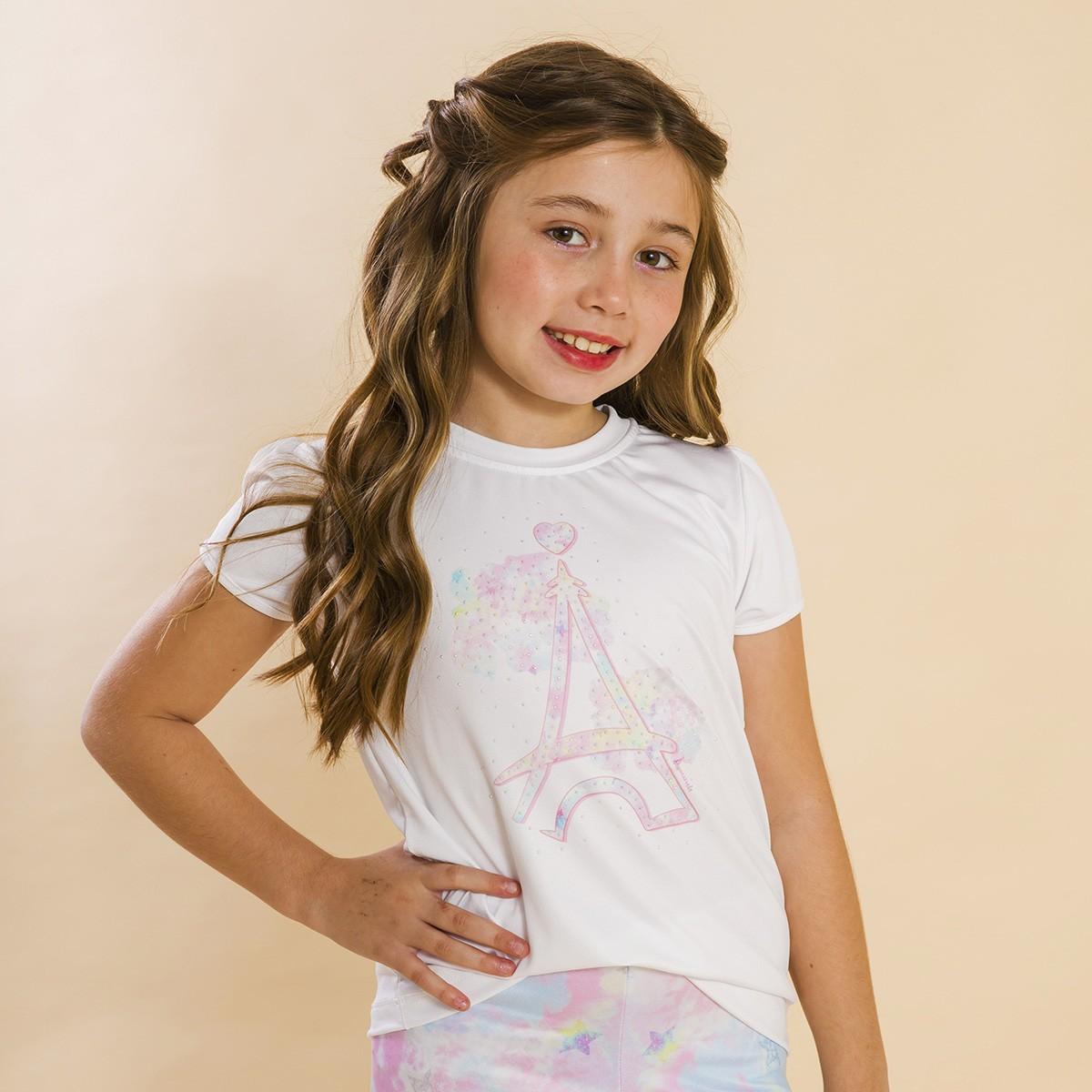 Blusa Branca Infantil Estampa Tie Dye Rosa