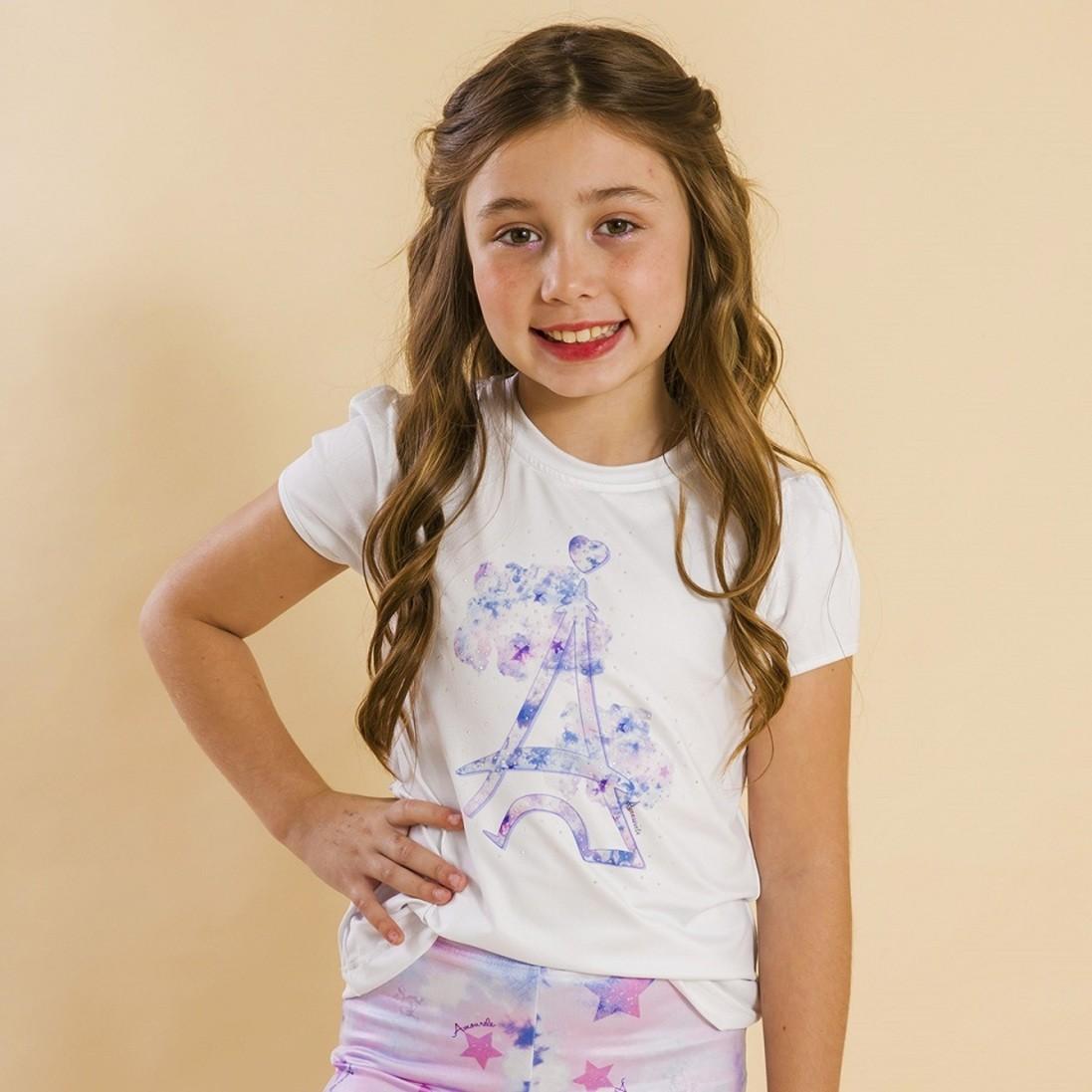 Blusa Branca Infantil Estampa Tie Dye Roxo