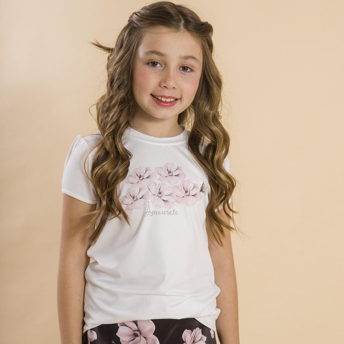 Blusa Branca Infantil Estampa Tulipa Rosa