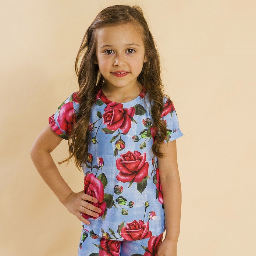 Blusa Infantil Rosas Azul Natal