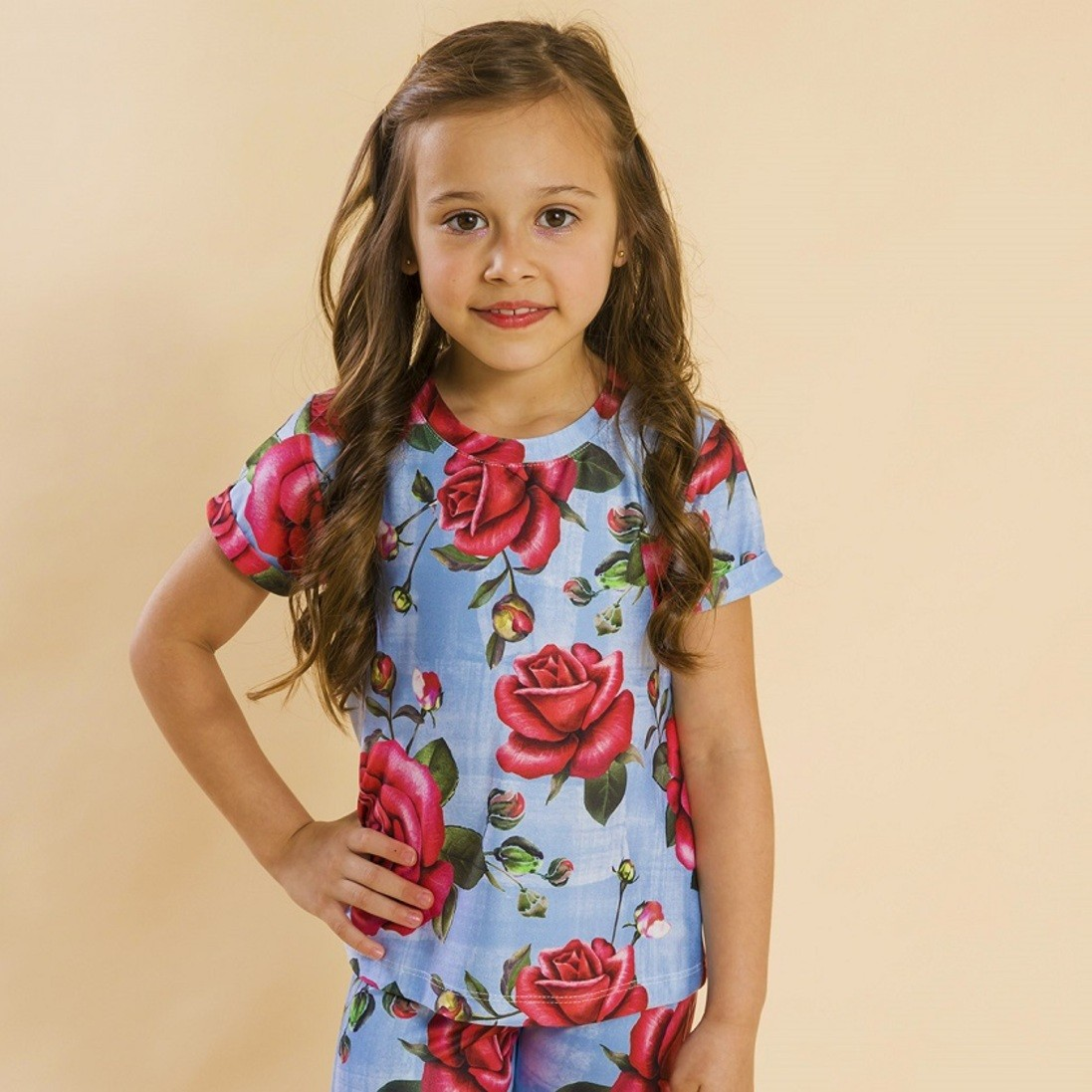 Blusa Infantil Rosas Azul