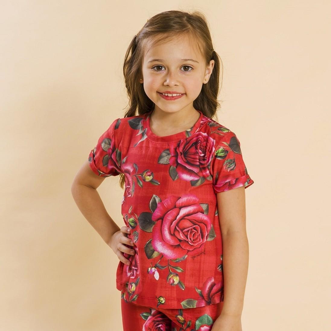 Blusa Infantil Rosas Vermelho