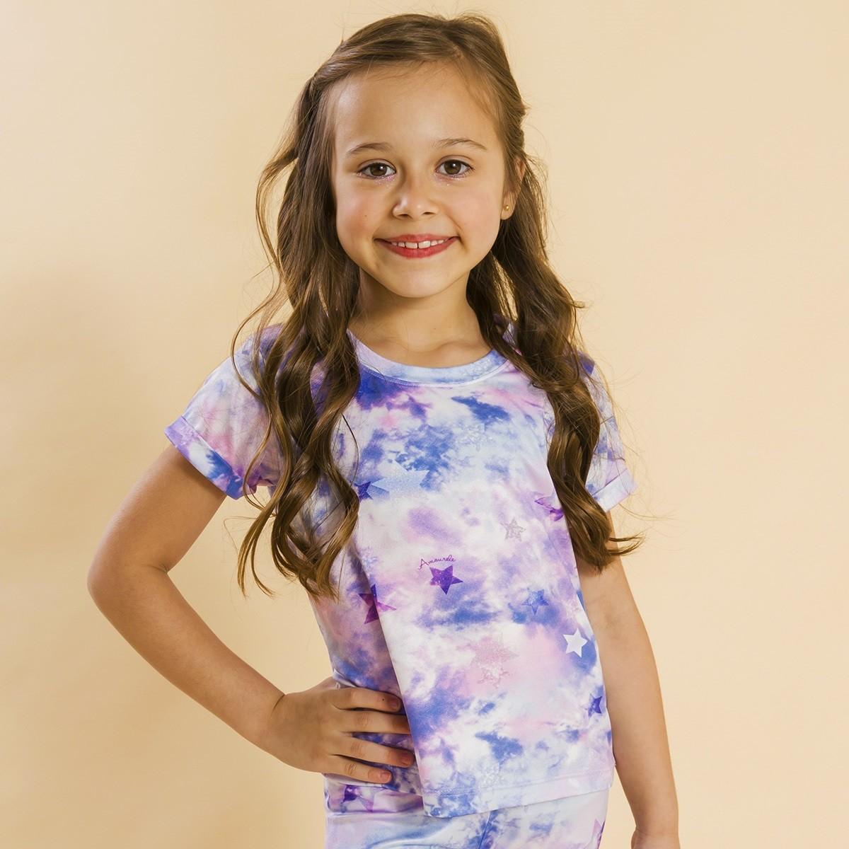 Blusa Infantil Tie Dye Roxo Ano Novo