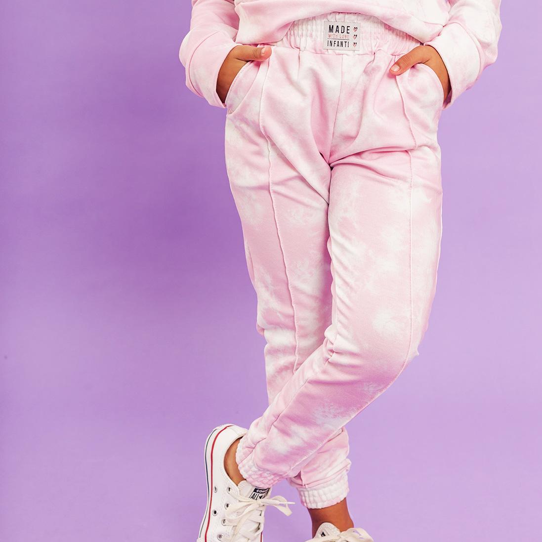 Calça Moletinho Tie Dye Rosa Infanti
