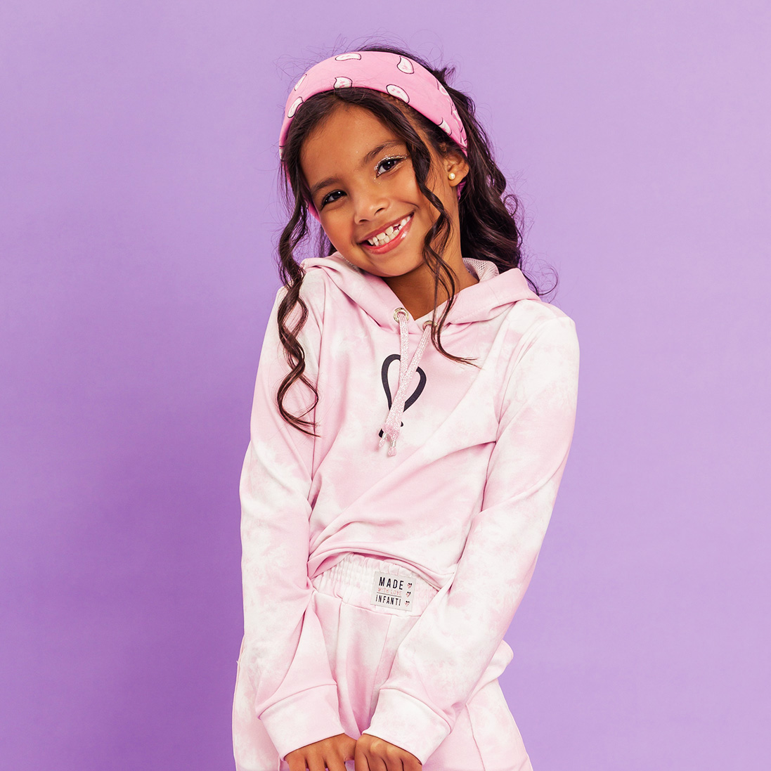 Combo 2 Peças - Calça + Casaco Moletinho Tie Dye Rosa Infanti