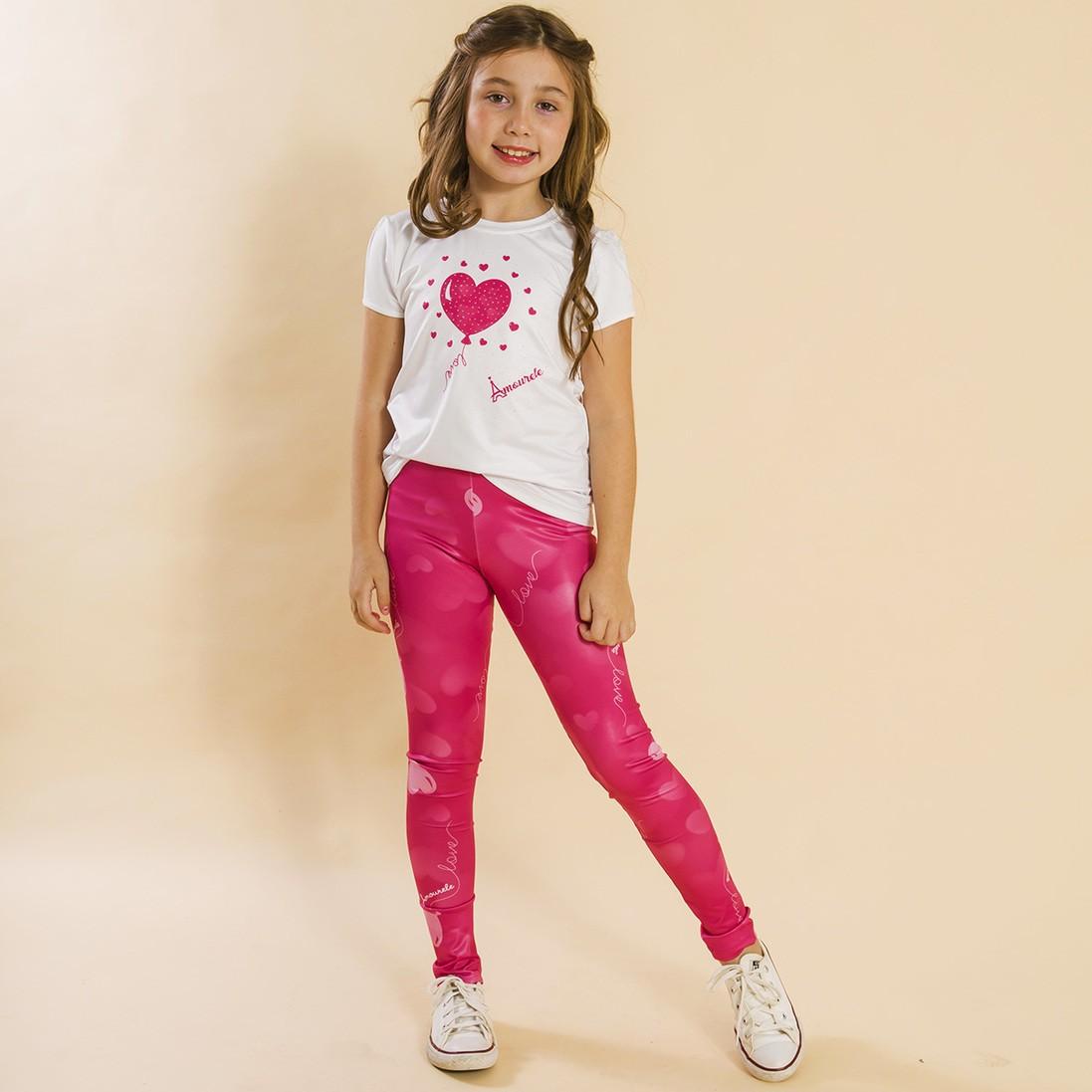Combo 2 Peças - Conjunto Legging Comprida + Jaqueta Balão Rosa
