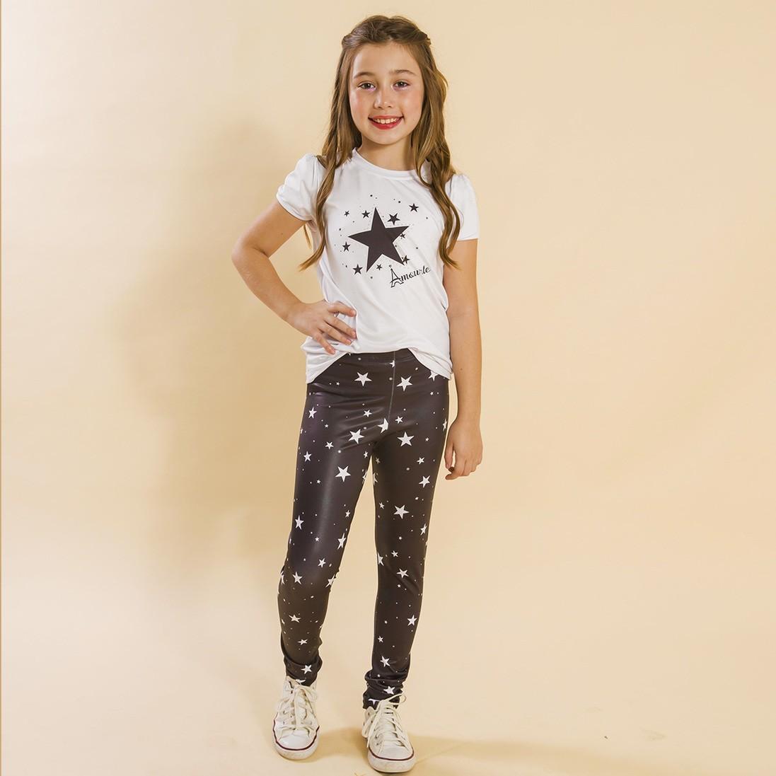 Combo 2 Peças - Conjunto Legging Comprida + Jaqueta Estrelas Preto
