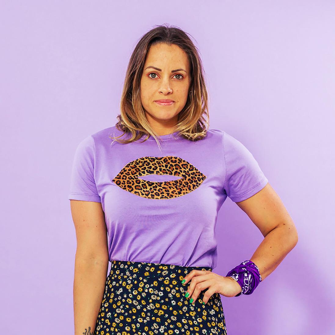 Combo 2 Peças - Tshirt Adulta + Tshirt Infantil Boca Onça Roxo